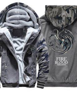 FIRE AND BLOOD Print Hoodies For Men 2019 Autumn Winter Streetwear Mens Sweatshirts Game Of Thrones 3