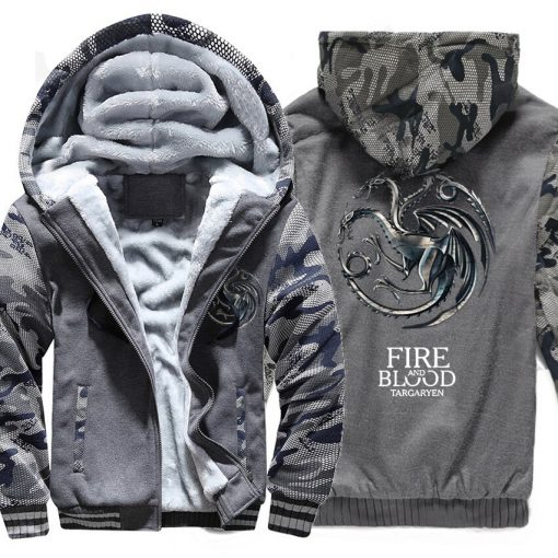 FIRE AND BLOOD Print Hoodies For Men 2019 Autumn Winter Streetwear Mens Sweatshirts Game Of Thrones 3