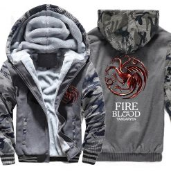 FIRE AND BLOOD Print Hoodies For Men 2019 Autumn Winter Streetwear Mens Sweatshirts Game Of Thrones 4