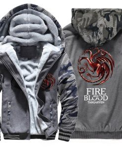 FIRE AND BLOOD Print Hoodies For Men 2019 Autumn Winter Streetwear Mens Sweatshirts Game Of Thrones 4