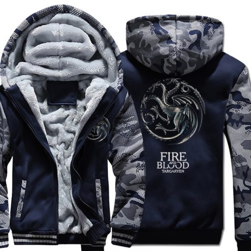 FIRE AND BLOOD Print Hoodies For Men 2019 Autumn Winter Streetwear Mens Sweatshirts Game Of Thrones