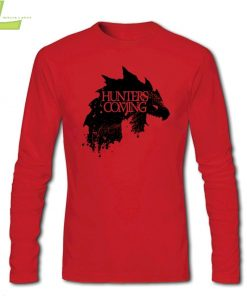 Fashion T shirt Men Male Hunters are coming Game of Wolves House Stark CrewNeck Long Sleeve 1
