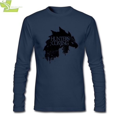Fashion T shirt Men Male Hunters are coming Game of Wolves House Stark CrewNeck Long Sleeve 2
