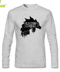 Fashion T shirt Men Male Hunters are coming Game of Wolves House Stark CrewNeck Long Sleeve