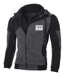 Fashion The Walking Dead Daryl Dixon Hoodie Personality Color Double Zip Hooded Cardigan Slim Fitting