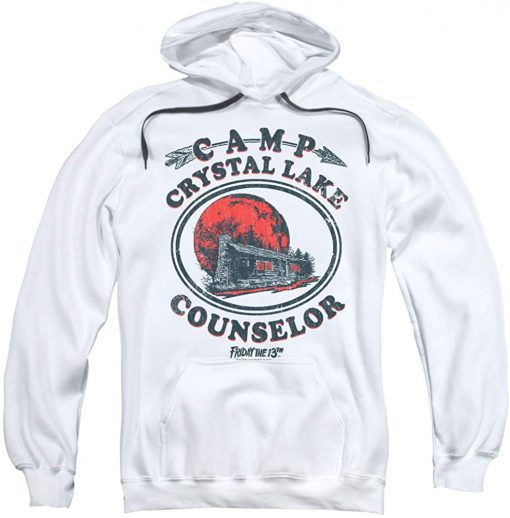 Friday The 13Th Camp Counselor Adult Pull Over Hoodie swearshirt White