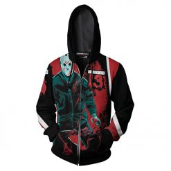 Friday The 13th Hoodies 3D Printed Zipper Up Hoodies Sweatshirt Pullover Coat Jacket