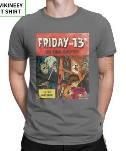Friday The 13th Jason Voorhees TShirt for Men Horror Movie Halloween Scary Cotton Tee Shirt Short