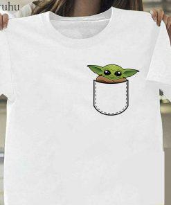 Funny Baby Yoda Mandalorian The Child In Pocket Funny T Shirt Men Women Summer New White 3
