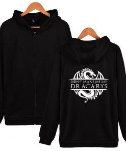 Game Of Thrones Daenerys Dracarys Hoodie Hooded Jacket Men Women Kid Clothes Zipper Coat Geek Clothing