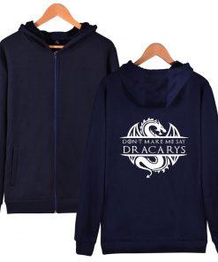 Game Of Thrones Daenerys Dracarys Hoodie Hooded Jacket Men Women Kid Clothes Zipper Coat Geek Clothing 4