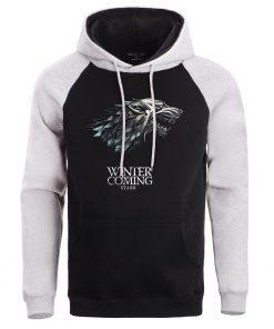 Game Of Thrones Hoodie Men Crewneck Hoodies Sweatshirts Winter Coming Fleece Warm White Mens Pullover Streetwear