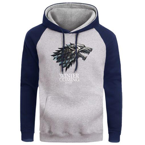 Game Of Thrones Hoodie Men Crewneck Hoodies Sweatshirts Winter Coming Fleece Warm White Mens Pullover Streetwear 3