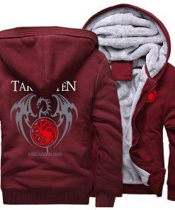 Game Of Thrones Hoodie Men Dragon Dracarys Printing Jacket Winter Fleece Warm Sweatshirt Zipper Pullover Harajuku 2