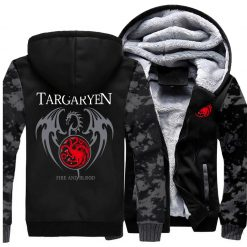 Game Of Thrones Hoodie Men Dragon Dracarys Printing Jacket Winter Fleece Warm Sweatshirt Zipper Pullover Harajuku
