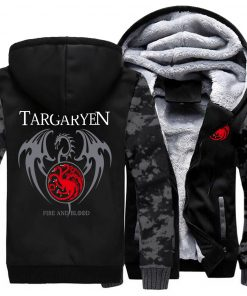 Game Of Thrones Hoodie Men Dragon Dracarys Printing Jacket Winter Fleece Warm Sweatshirt Zipper Pullover Harajuku