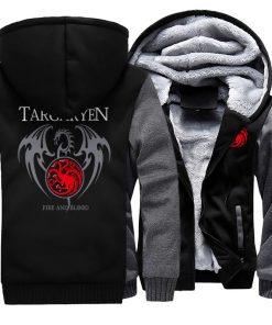 Game Of Thrones Hoodie Men Dragon Dracarys Printing Jacket Winter Fleece Warm Sweatshirt Zipper Pullover Harajuku 4