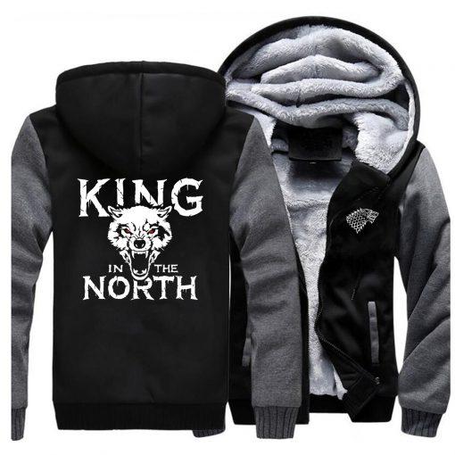 Game Of Thrones Hoodies Men House Stark King In The North Thicken Jacket Hoodie Men Casual 1