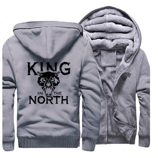 Game Of Thrones Hoodies Men House Stark King In The North Thicken Jacket Hoodie Men Casual 2