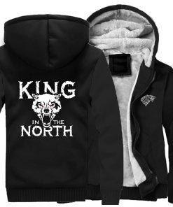 Game Of Thrones Hoodies Men House Stark King In The North Thicken Jacket Hoodie Men Casual