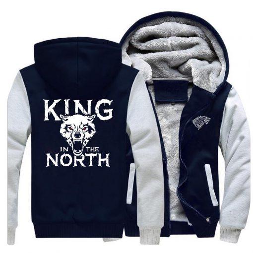 Game Of Thrones Hoodies Men House Stark King In The North Thicken Jacket Hoodie Men Casual 4