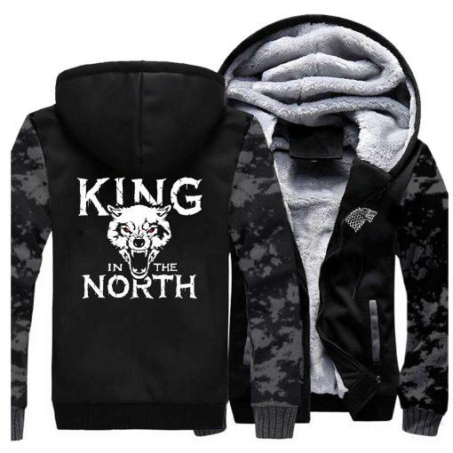 Game Of Thrones Hoodies Men House Stark King In The North Thicken Jacket Hoodie Men Casual 5