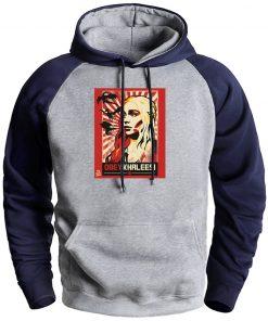Game Of Thrones Hoodies Mother Of Dragon Man Winter Raglan Hooded Sweatshirts Mens Long Sleeve Casual
