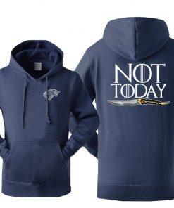 Game Of Thrones Men s Arya Stark Hoodies Sweatshirt Not Today Tracksuit Fleece Hooded Streetwear Sportswear