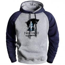 Game Of Thrones Mens Hooded Sweatshirt Not Today Arya Hip Hop Raglan Fleec Sweatshirts Streetwear Man