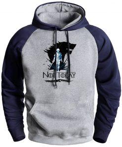 Game Of Thrones Mens Hooded Sweatshirt Not Today Arya Hip Hop Raglan Fleec Sweatshirts Streetwear Man