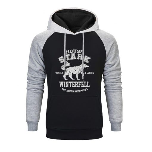 Game Of Thrones Raglan Hoodies Men House Stark The Song Of Ice And Fire Winter Is