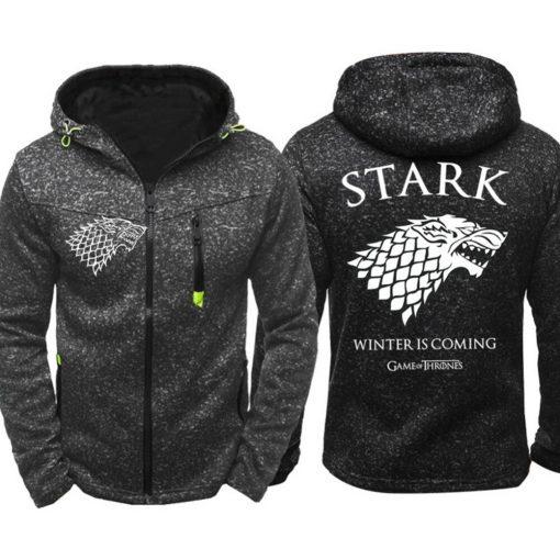 Game of Thrones Cosplay Stark Hoodie Zip Up Sweatshirts Men Women Print Winter Is Coming Hoodie 4