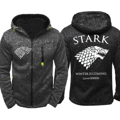 Game of Thrones Cosplay Stark Hoodie Zip Up Sweatshirts Men Women Print Winter Is Coming Hoodie