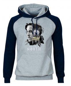 Game of Thrones Hoodies Men Jon Snow Sweatshirts King In The North Raglan Hooded Winter Autumn 1