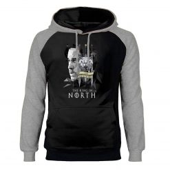 Game of Thrones Hoodies Men Jon Snow Sweatshirts King In The North Raglan Hooded Winter Autumn