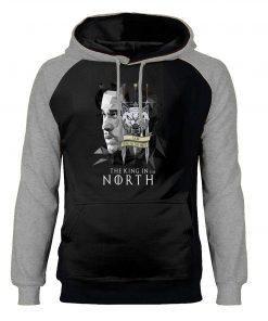 Game of Thrones Hoodies Men Jon Snow Sweatshirts King In The North Raglan Hooded Winter Autumn