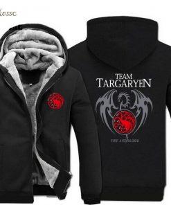 Game of Thrones Hoodies Men Targaryen Fire Blood Dragon Sweatshirt 2018 Winter Thick Warm Zipper Brand 1