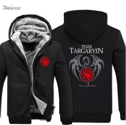 Game of Thrones Hoodies Men Targaryen Fire Blood Dragon Sweatshirt 2018 Winter Thick Warm Zipper Brand 1