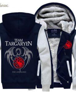 Game of Thrones Hoodies Men Targaryen Fire Blood Dragon Sweatshirt 2018 Winter Thick Warm Zipper Brand 2