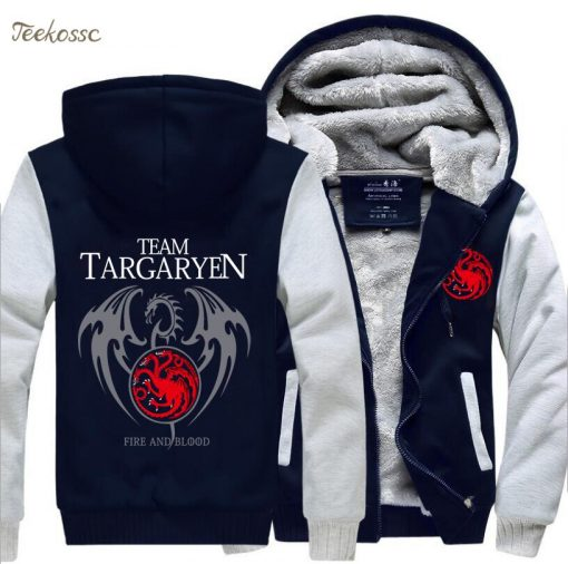 Game of Thrones Hoodies Men Targaryen Fire Blood Dragon Sweatshirt 2018 Winter Thick Warm Zipper Brand 2