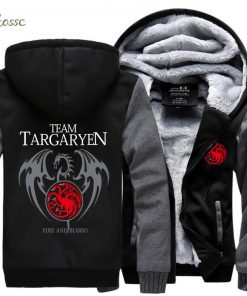 Game of Thrones Hoodies Men Targaryen Fire Blood Dragon Sweatshirt 2018 Winter Thick Warm Zipper Brand