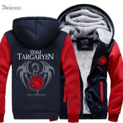 Game of Thrones Hoodies Men Targaryen Fire Blood Dragon Sweatshirt 2018 Winter Thick Warm Zipper Brand 3