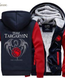 Game of Thrones Hoodies Men Targaryen Fire Blood Dragon Sweatshirt 2018 Winter Thick Warm Zipper Brand 3
