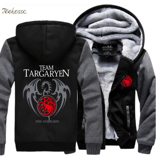 Game of Thrones Hoodies Men Targaryen Fire Blood Dragon Sweatshirt 2018 Winter Thick Warm Zipper Brand