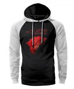 Game of Thrones Hoodies Men Winter Is Coming Stark Wolf The North Remembers Raglan Hooded Sweatshirts