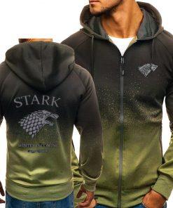Game of Thrones House Stark Sweatshirt Zipper Gradient Hoodie Cotton Whiter Jacket Coat Harajuku 2