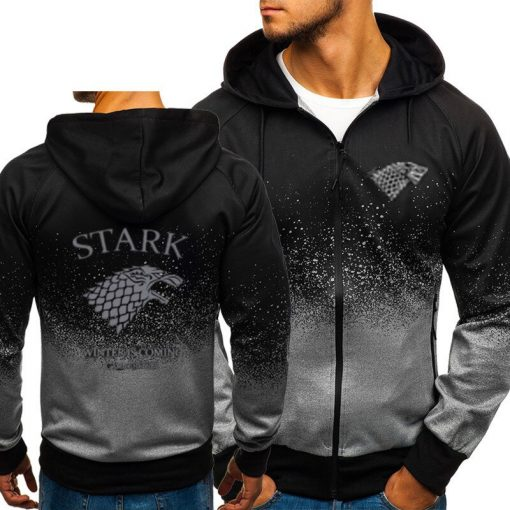 Game of Thrones House Stark Sweatshirt Zipper Gradient Hoodie Cotton Whiter Jacket Coat Harajuku 3