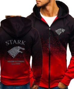 Game of Thrones House Stark Sweatshirt Zipper Gradient Hoodie Cotton Whiter Jacket Coat Harajuku 4