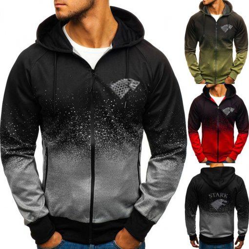 Game of Thrones House Stark Sweatshirt Zipper Gradient Hoodie Cotton Whiter Jacket Coat Harajuku