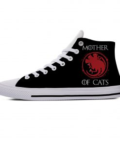 Game of Thrones Mother of Cats Funny Vogue Cute Casual Canvas Shoes High Top Lightweight Breathable 1